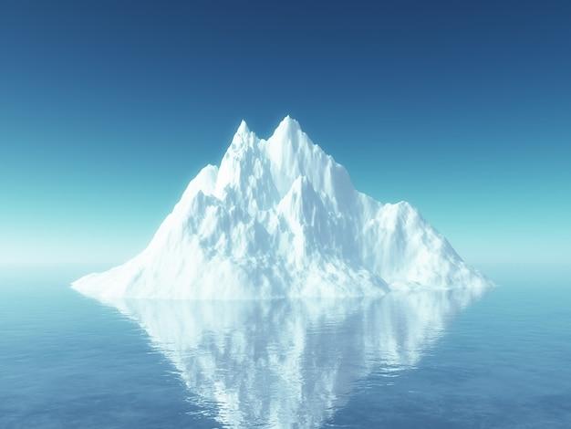 Iceberg 3d en el océano azul