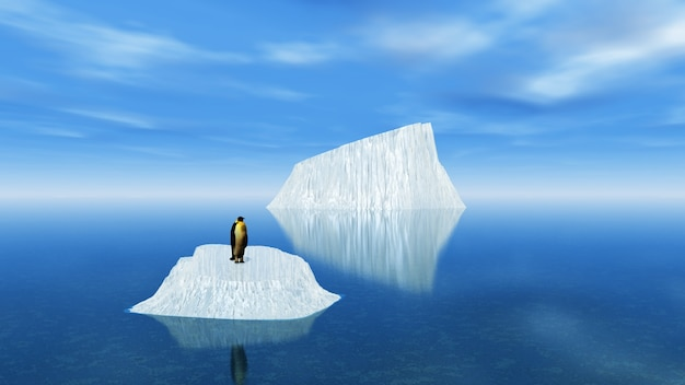 Icebergs con un pingüino