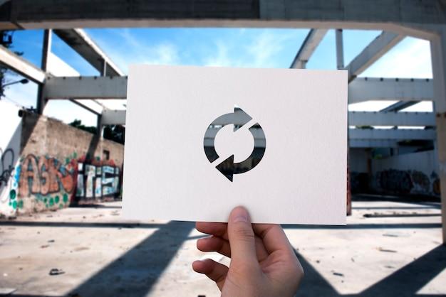 Icono de actualización recarga papel perforado