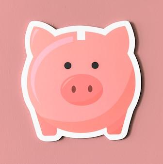 Icono de ahorro rosa hucha