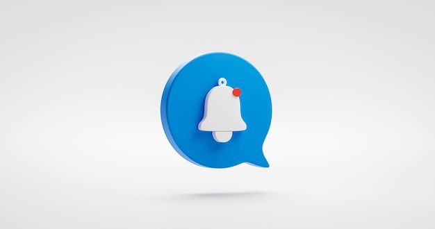 Icono de alarma de campana de notificación azul o recibir atención de correo electrónico sms signo e ilustración de mensaje de internet aislado sobre fondo blanco con elemento de símbolo de comunicación web. representación 3d.
