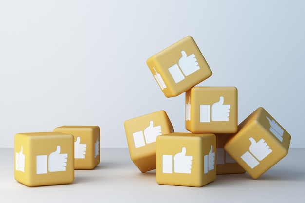 Icono amarillo como cuadro 3d representación 3d