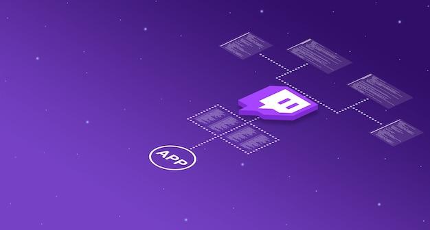 Icono de la aplicación de contracción en el sistema con elementos de código de programa 3d