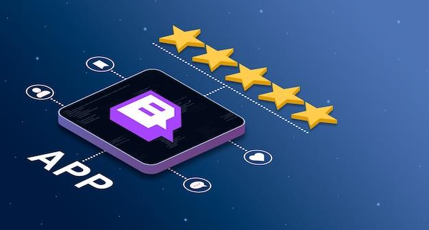 Icono de la aplicación twitch con una calificación de 5 estrellas e insignias de actividad social 3d
