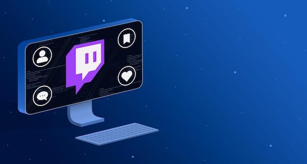 Icono de la aplicación twitch en la pantalla de la computadora con insignias de actividad social 3d