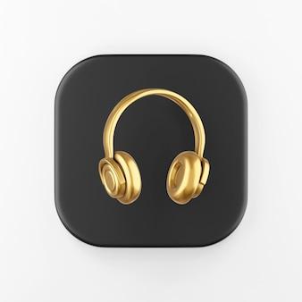 Icono de auriculares de oro. botón de tecla cuadrada negra de representación 3d, elemento de interfaz de usuario ux de interfaz.