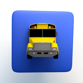 Icono con autobús escolar sobre fondo blanco aislado. ilustración 3d. app. de vuelta a la escuela.