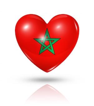 Icono de bandera de corazón de amor marruecos