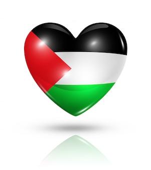 Icono de bandera de corazón de amor palestina