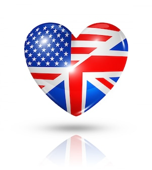 Icono de bandera de corazón de estados unidos y reino unido de amor