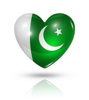 Icono de bandera de corazón de pakistán de amor