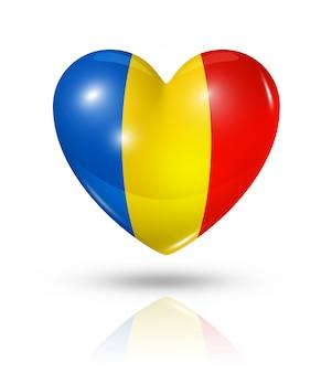 Icono de bandera de corazón de rumania de amor
