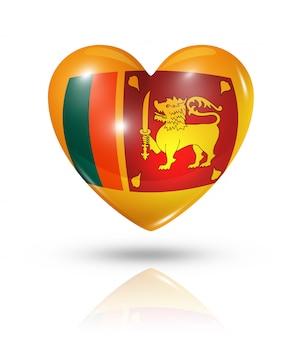 Icono de bandera de corazón de sri lanka de amor