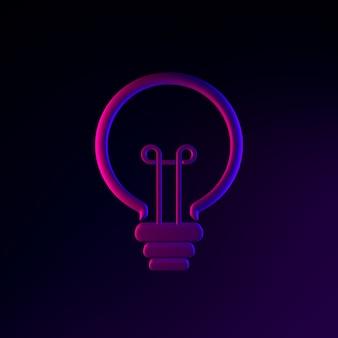 Icono de bombilla de luz de neón de contorno lineal. elemento de interfaz de interfaz de usuario de renderizado 3d. símbolo oscuro que brilla intensamente.