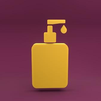 Icono de botella de desinfectante de manos 3d. ilustración de renderizado 3d de botella de desinfectante para manos.