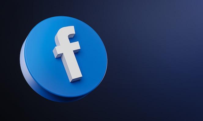 icono de botón de círculo de facebook 3d con espacio de copia