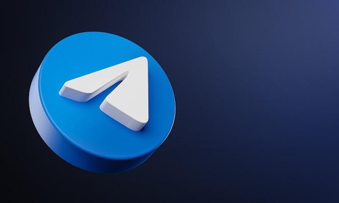 Icono de botón de círculo de telegram 3d con espacio de copia
