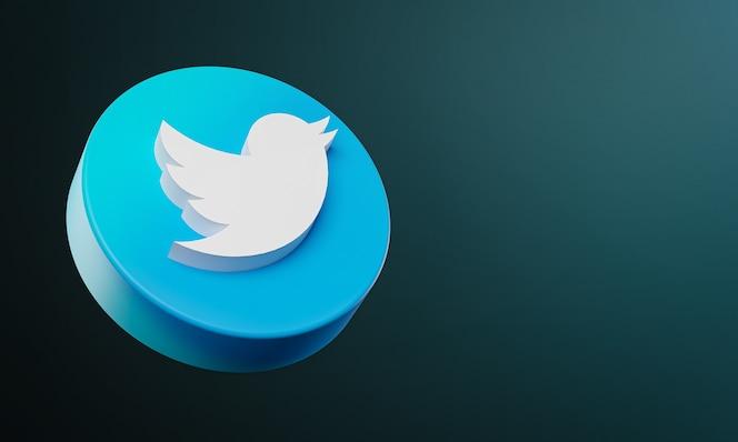 Icono de botón de círculo de twitter 3d con espacio de copia