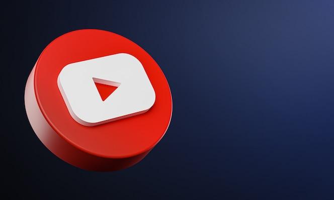 Icono de botón de círculo de youtube 3d con espacio de copia