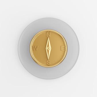 Icono de brújula magnética dorada. botón de tecla redonda gris de renderizado 3d, elemento de interfaz ui ux de interfaz.
