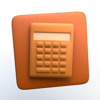 Icono de calcualizador sobre fondo blanco aislado. ilustración 3d. app. Foto Premium