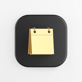 Icono de calendario dorado en blanco. representación 3d del botón de tecla cuadrado negro, elemento de interfaz de usuario ux de interfaz.