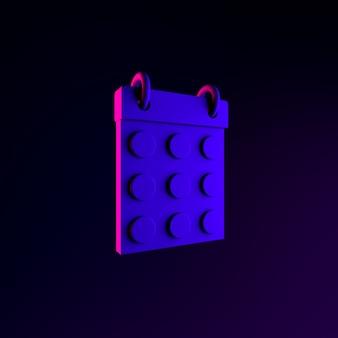 Icono de calendario de fecha redonda de neón. elemento de interfaz de interfaz de usuario de renderizado 3d. símbolo oscuro que brilla intensamente.