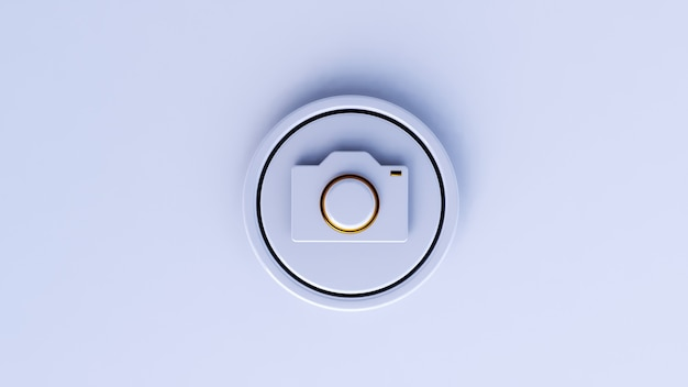 Icono de cámara 3d de lujo con fondo blanco