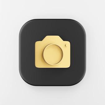Icono de cámara de fotos dorada en estilo plano. representación 3d tecla de botón cuadrado negro, elemento de interfaz ui ux de interfaz.