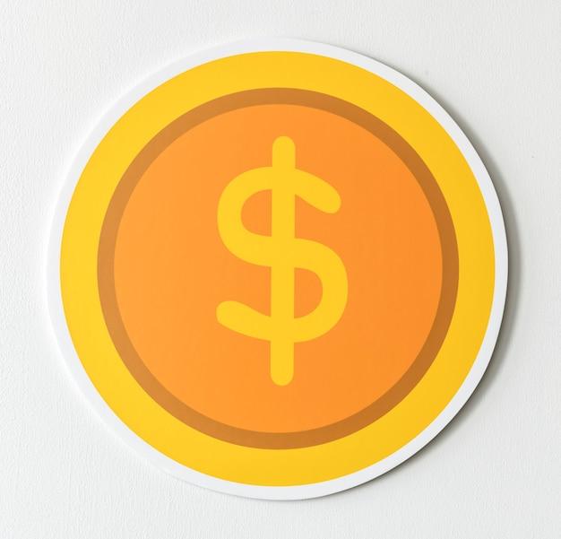 Icono de cambio de moneda dólar estadounidense