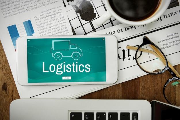 Icono de camión de logística de carga de envío de carga