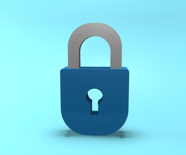 Icono de candado 3d. ilustración de bloqueo de renderizado 3d. ilustración de bloqueo aislado