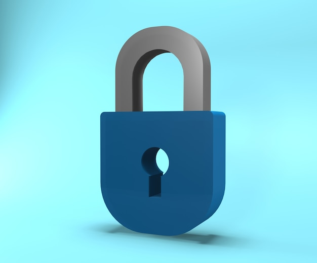 Icono de candado 3d. ilustración de bloqueo de renderizado 3d. ilustración de bloqueo aislado Foto Premium