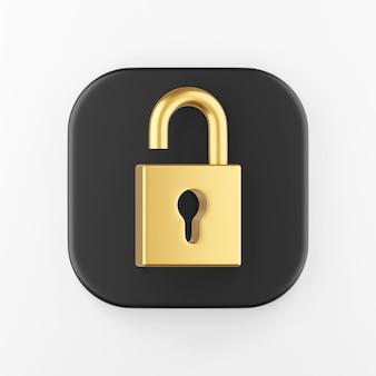 Icono de candado abierto dorado. botón de tecla cuadrada negra de representación 3d, elemento de interfaz de usuario ux de interfaz.