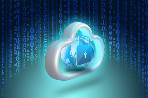 Icono de candado en el almacenamiento de datos en la nube con código binario