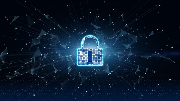 Icono de candado. ciberseguridad de la protección de redes de datos digitales. análisis de datos de conexión de alta velocidad.