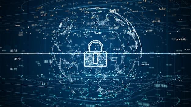 Icono de candado de datos digitales de seguridad cibernética, protección de red de datos digitales