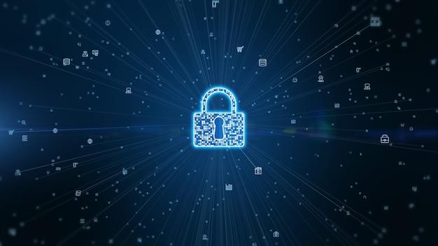 Icono de candado para seguridad cibernética de datos digitales
