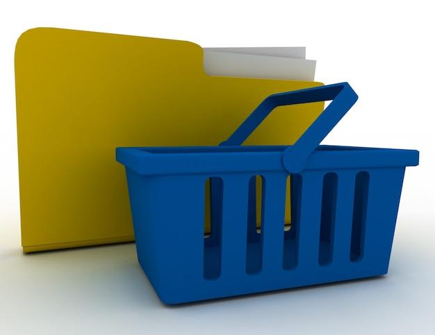 Icono de carpeta de computadora con cesta de la compra. 3d rindió la ilustración