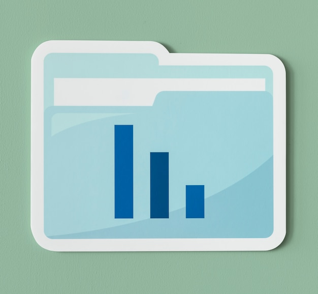 Icono de carpeta de informe de análisis empresarial
