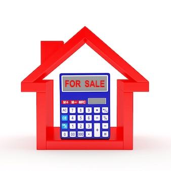 Icono de la casa roja y calculadora con la palabra en venta