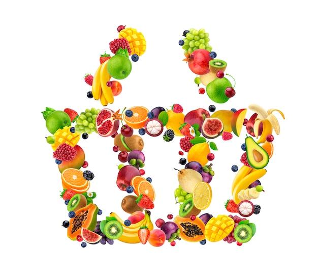 Icono de la cesta de compras hecha de frutas y bayas frescas que caen aisladas en blanco