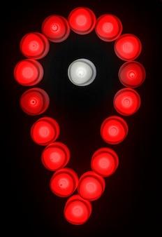 Icono de check in de luces rojas