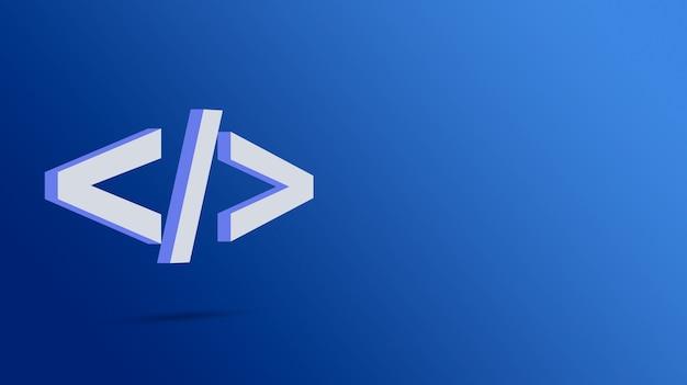 Icono de código de programa sobre fondo azul 3d