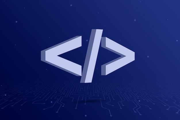 Icono de código de programa sobre fondo azul con elementos de circuito 3d