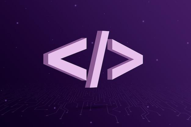 Icono de código de programa sobre fondo morado 3d