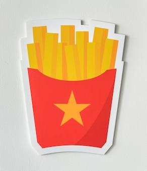 Icono de comida chatarra de papas fritas