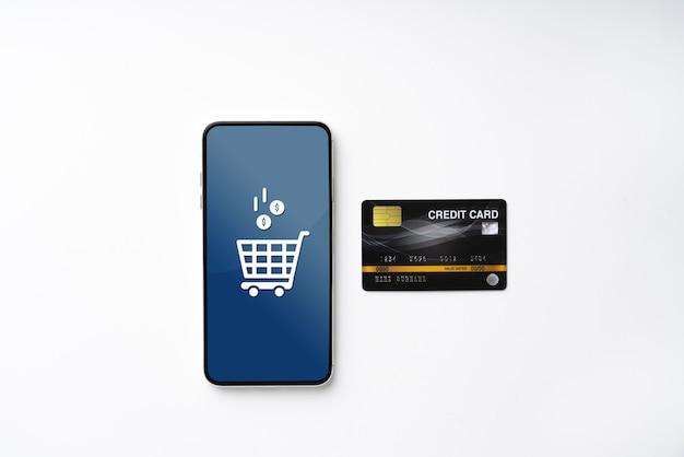 Icono de compras en línea en cubo colorido rompecabezas