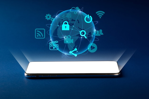 Icono de compras en línea con globo para concepto global de fondo abstracto