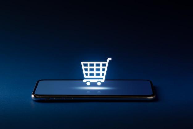 Icono de compras en línea en teléfonos inteligentes para concepto global